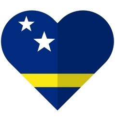 Curacao flat heart flag vector