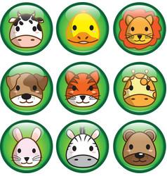 Cute animal button vector