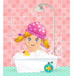Cute cartoon blonde baby girl taking a bubble bath vector