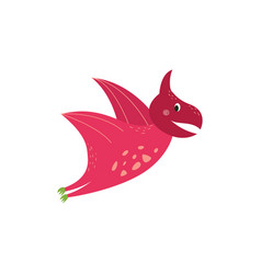 cute cartoon pterodactyl flying and smiling vector image