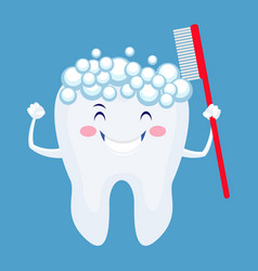 Cute cartoon tooth with foam and toothbrush vector