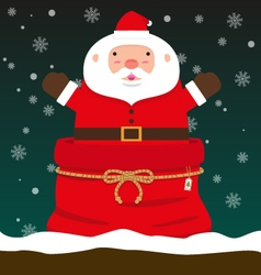 Cute fat big Santa Claus come out of Christmas bag vector