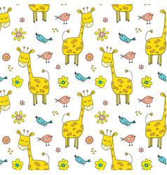 Cute giraffe seamless pattern cartoon hand drawn vector