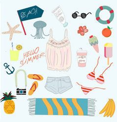 Cute summer sunny day beach items cartoon vector