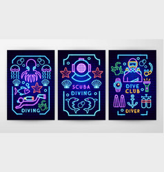 diving neon flyer concepts vector image