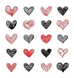 Doodle Hand Drawn Valentine Hearts Set vector