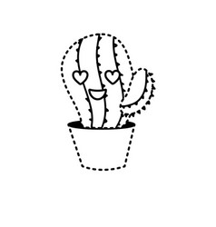 dotted shape kawaii cute in love cactus plant vector image