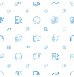 Earphones icons pattern seamless white background vector