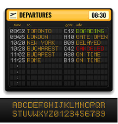 electronic airport board realistic composition vector image