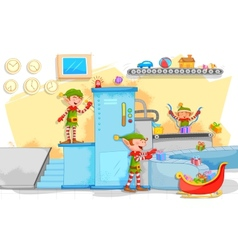 Elf making Christmas gifts in toy factory vector