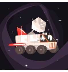 Explorer Rover Car With Wings And Satellite Dish vector