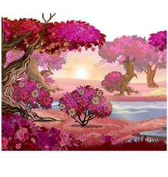 Fairy forest with pink trees fantasy nature vector