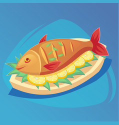 Fish icon crucian on white plate with lemon and vector
