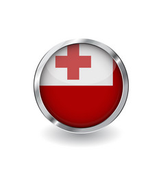 flag of tonga button with metal frame and shadow vector image