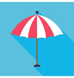 Flat Beach Umbrella with Long Shadow vector