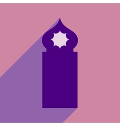 Flat icon with long shadow Arab tower vector