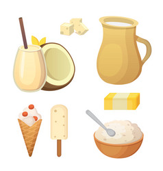 Fresh organic milk products set with cheese vector