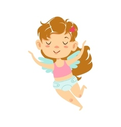 Girl Baby Cupid Flying Winged Toddler In Diaper vector