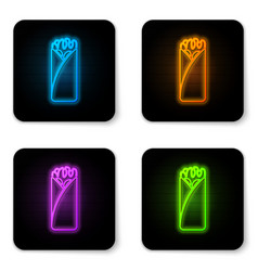 Glowing neon burrito icon isolated on white vector