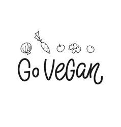 go vegan shirt print quote lettering vector image
