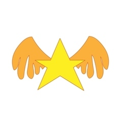 Gold star with wings icon cartoon style vector