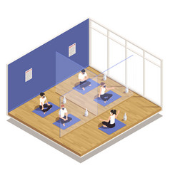 Gym workout isometric composition vector