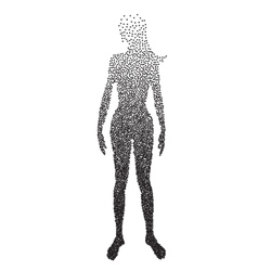 Halftone body female Anatomy designed using vector