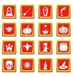 Halloween icons set red vector