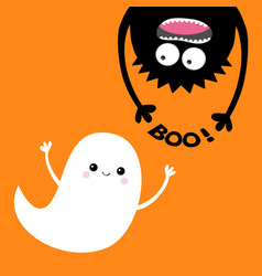 Happy halloween card flying ghost spirit monster vector