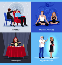 Hypnotism extrasensory icon set vector