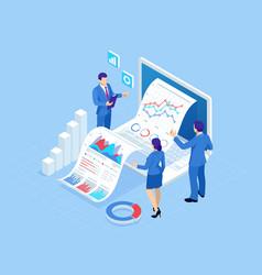 isometric concept of business analysis analytics vector image
