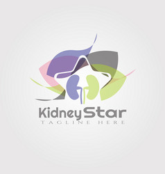 Kidney and star logo designhealthcare and medical vector