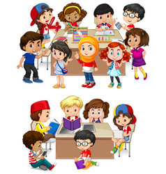 kids learning at school vector image