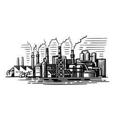 Large smoking factory in sketch style vector