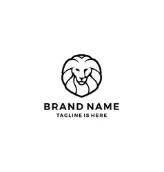 lion logo head face template icon vector image