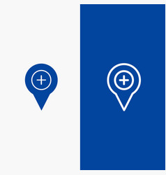 Location map navigation pin plus line and glyph vector