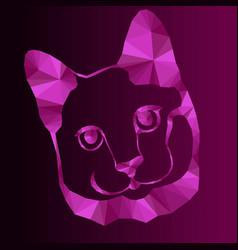 Magenta mosaic a cat muzzle vector