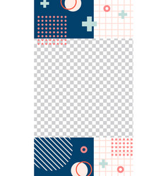 memphis style story template vector image
