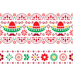 mexican seamless pattern with sombrero vector image