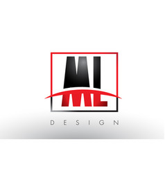 ml m l logo letters with red and black colors and vector image