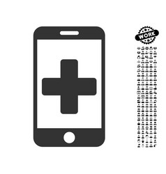 Mobile medical help icon with people bonus vector