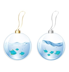 New Year Balls With Blue Fishes In Water vector