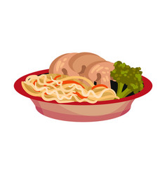 Noodles with mushrooms in a plate vector