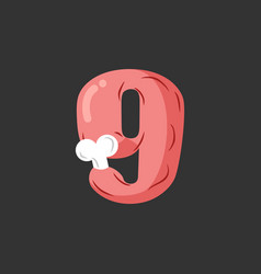 Number 9 meat pork and bone font nine ham vector