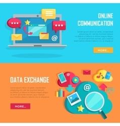Online Communication and Data Exchange Banners vector image