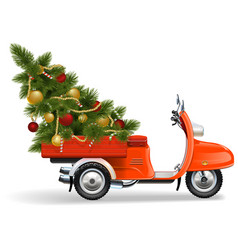 Orange scooters with christmas tree vector