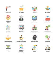 Pack of business and management flat vector