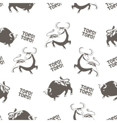Pattern with bulls Corrida vector