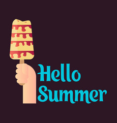 pink ice cream with text hello summer vector image
