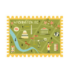 postal stamp with washington city map and symbols vector image